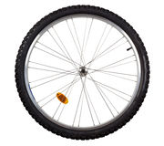 Bicycle wheel. Front wheel of a mountain bike isolated on white background Royalty Free Stock Photography