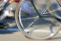 Bicycle Wheel. Close up of a moving bicycle wheel Royalty Free Stock Image
