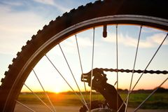 Bicycle wheel. On sky background Stock Photo