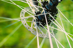 Bicycle Wheel Background. Close Up Spokes Stock Photo