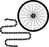Bicycle wheel and chain icon stock photography