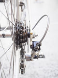 Bicycle wheel and chain Parts Details Close up Royalty Free Stock Photo