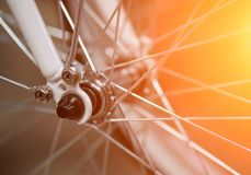 Bicycle wheel close-up. Bicycle spokes royalty free stock images