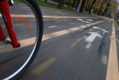 Bicycle wheel closeup in motion Royalty Free Stock Photos