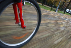 Bicycle wheel closeup in motion Stock Photo