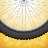 Bicycle wheel. Colorful illustration with  bicycle wheell on a sun background for your design Stock Photos