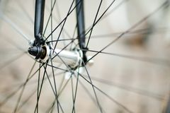 Bicycle wheel in detail - fork and middle part royalty free stock photos