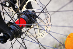 Bicycle wheel with disk brakes Stock Photo