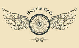 Bicycle Wheel with feathers. And wings vintage emblem in the classical style vector illustration