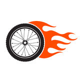Bicycle wheel with fire flame emblem. On white background Stock Photo
