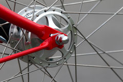 Bicycle wheel hub. Gear (hub derailleur) of modern city bicycle over gray background royalty free stock photography