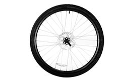 Bicycle wheel. Wheel from a bicycle isolated on a white background Royalty Free Stock Photo