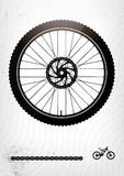 Bicycle wheel. Poster template Stock Photography