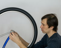 Bicycle wheel repearing Stock Image