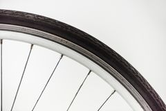 Bicycle wheel with rim, tire and spokes. Isolated on white Royalty Free Stock Photo