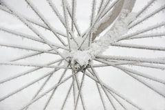 Bicycle wheel in rime frost Stock Photos