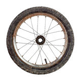 Bicycle wheel. Small old rusty bicycle wheel isolated on white Royalty Free Stock Photo