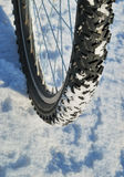 Bicycle wheel on a snow Stock Photo