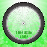 Bicycle Wheel. On Summer Green Blurred Background Stock Photos