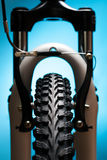 Bicycle wheel with suspension fork and brakes Royalty Free Stock Photos