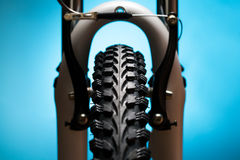 Bicycle wheel with suspension fork and brakes Royalty Free Stock Image