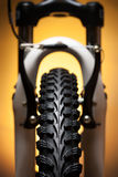 Bicycle wheel with suspension fork and brakes Stock Photography