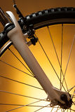 Bicycle wheel with suspension fork Stock Images