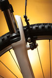 Bicycle wheel with suspension fork Stock Photography