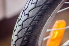 Bicycle wheel tyre close-up Royalty Free Stock Image