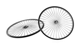Bicycle Wheels. Pair of 3d bicycle wheels interlocked, isolated Royalty Free Stock Images