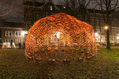 Bicycle wheels, Amsterdam lights festival 2014 Royalty Free Stock Images