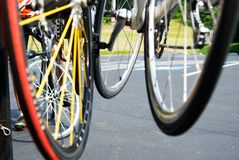 Bicycle Wheels Close Stock Images