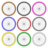 Bicycle wheels different color set on white background vector Royalty Free Stock Photo