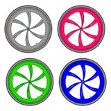 Bicycle wheels different color set on white background vector Stock Photography