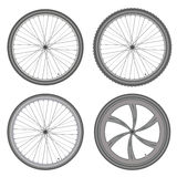 Bicycle wheels different set on white background vector Royalty Free Stock Image
