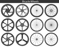 Bicycle Wheels with different tires: mountain, sports, touring,. Trekking, city and road. Set of black vector illustrations isolated on white. Template for logo Royalty Free Stock Image