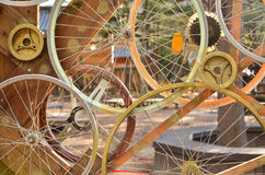 Bicycle wheels pattern decorate to background.  Royalty Free Stock Photography
