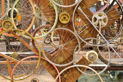 Bicycle wheels pattern decorate to background.  Stock Photos