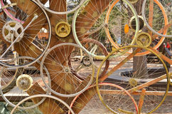 Bicycle wheels pattern decorate to background.  Royalty Free Stock Photos