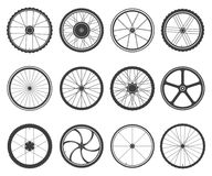 Bicycle wheels set. Circular frame of hard material for vehicle, city, lightweight bike component. Vector flat style cartoon illustration isolated on white Royalty Free Stock Photography