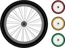Bicycle wheels. set of the detailed wheels. Bicycle wheels. series detailed wheels of the vehicles isolated on white Stock Photos