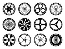 Bicycle wheels set with tires and spokes. Bike icons component. Vector illustration isolated on white background Royalty Free Stock Photos