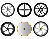 Bicycle wheels without spokes Stock Photos