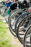 Bicycle wheels before start Stock Photography