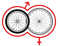 Bicycle wheels with symbols of venus and mars stock photography