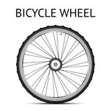 Bicycle whhel. Black and white bicycle wheel with metallic parts Royalty Free Stock Photography