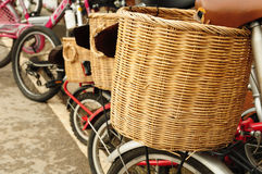 Bicycle with wicker basket Stock Photo
