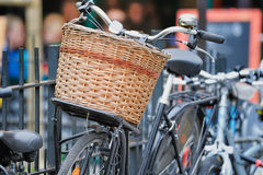 Bicycle with wicker basket Royalty Free Stock Images
