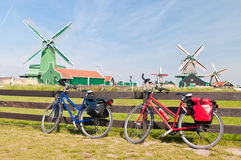 Bicycle and Windmill Royalty Free Stock Photography