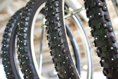 Bicycle winter tire an assortment of store Royalty Free Stock Photos